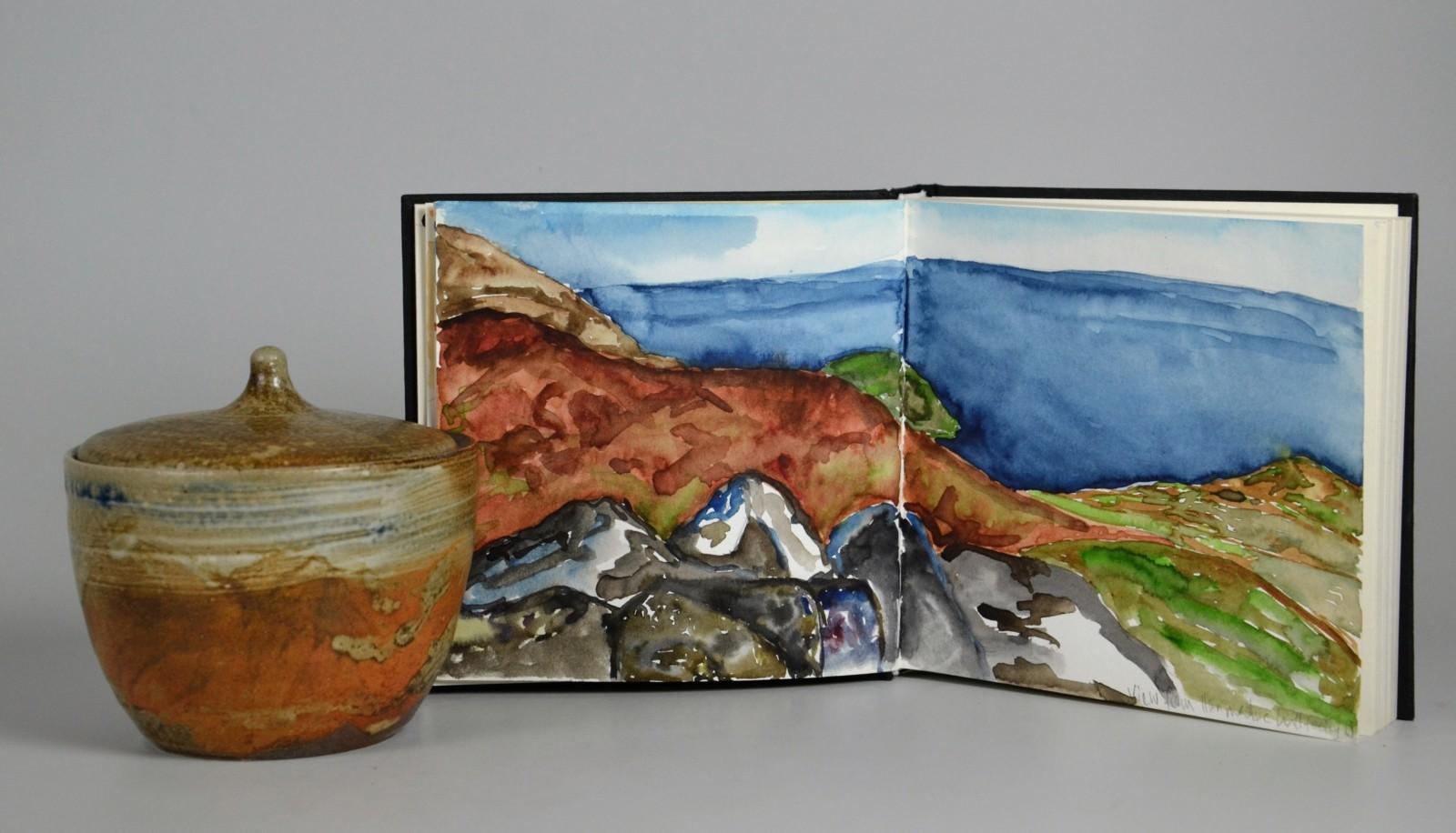 Salzglasierte Keramik  und Aquarell Gemäde Landschaft 2