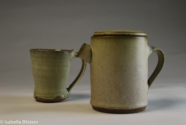 Stoneware coffee pot and cup
