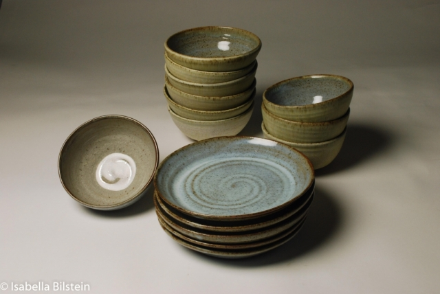 handmade Stoneware bowls and plates available for sale at my studio