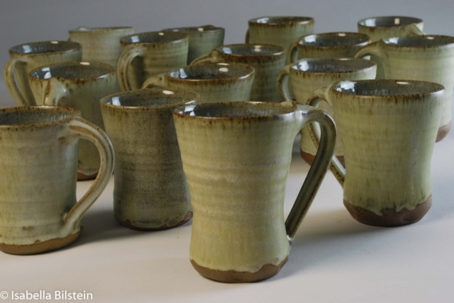 handmade green Stoneware cups available for sale at my studio